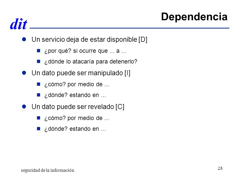 Dependencia Un servicio deja de estar disponible [D]